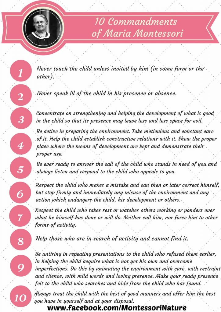 graphic about 10 Commandments Printable referred to as 10 Commandments of Maria Montessori ( A Decalogue as a result of Dr. M