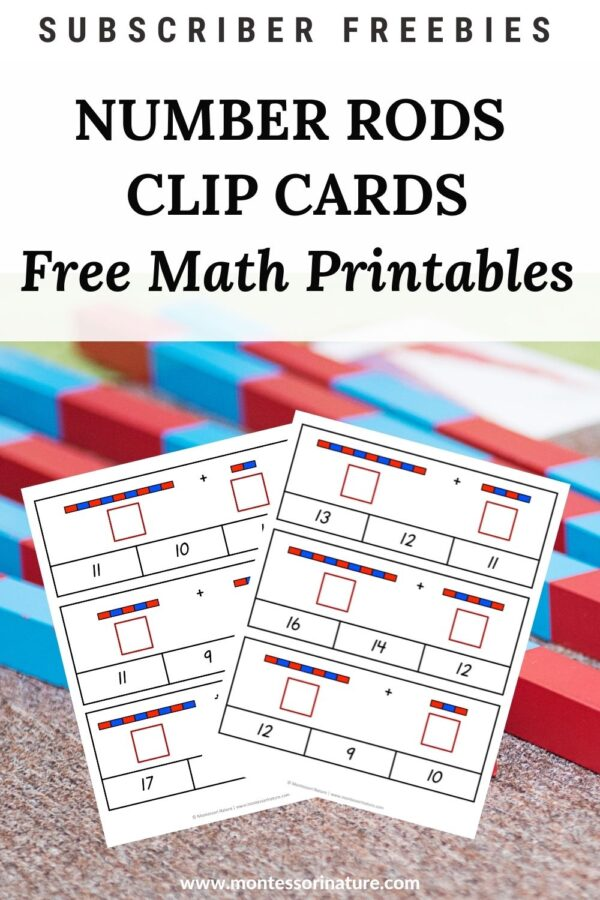 Addition Clip Cards with Number Rods