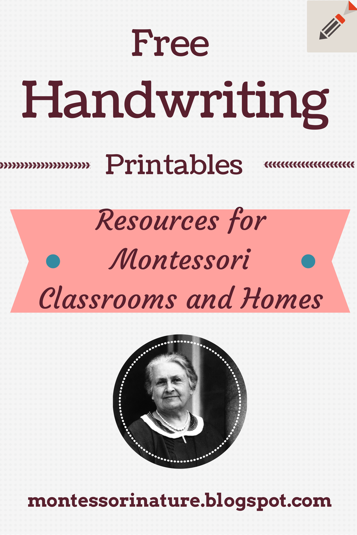 Free Handwriting Printables. - Montessori Nature