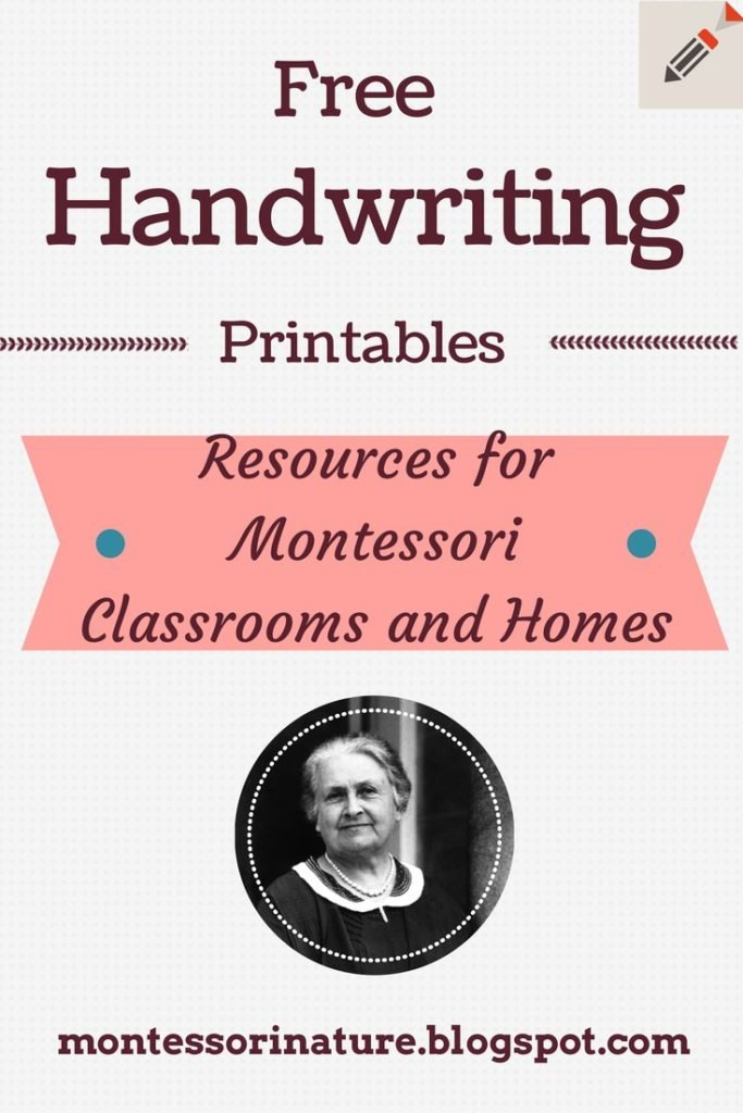 Free Handwriting Printables. Montessori Nature