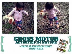 Gross Motor Activities in Nature + Scavenger Hunt  Printable