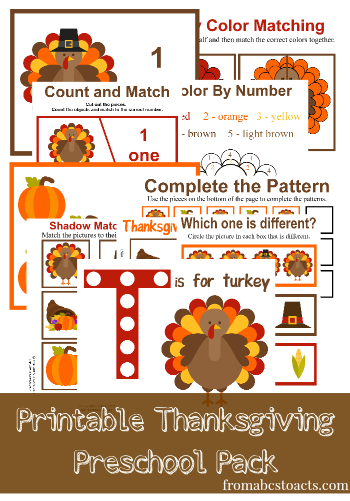 Free Thanksgiving Preschool Printables. - Montessori Nature