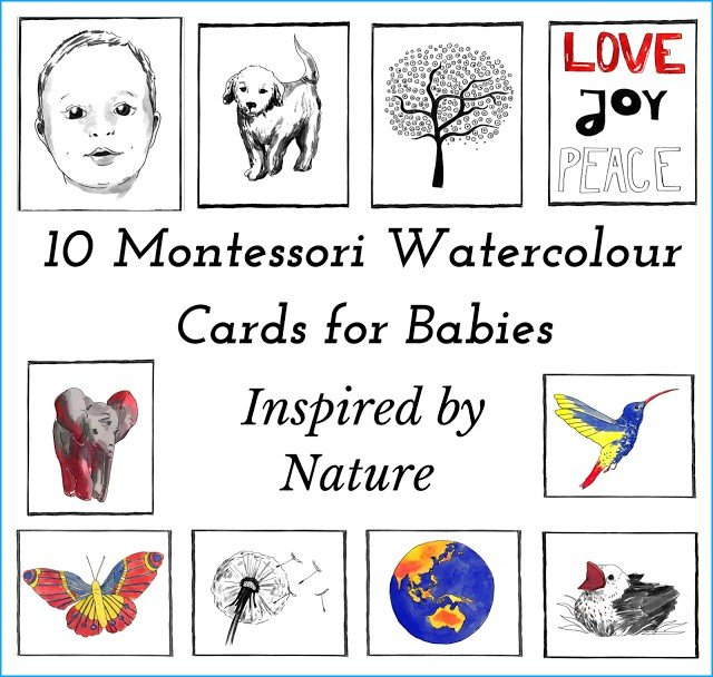 Baby watercolor cards for wall art