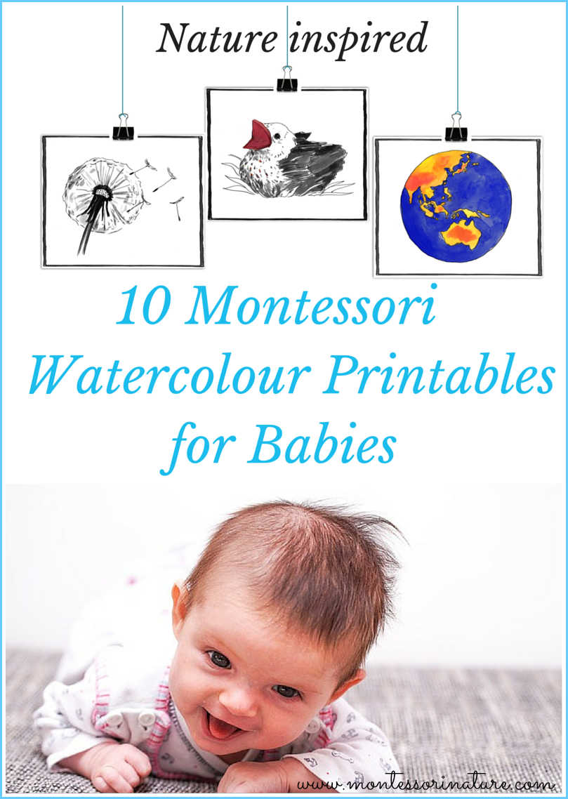 10 Montessori Watercolor Cards for Babies. Inspired by ...
