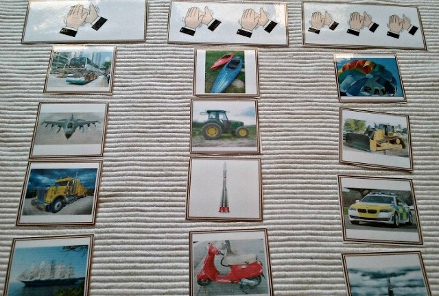 Transportation cards sorting activity