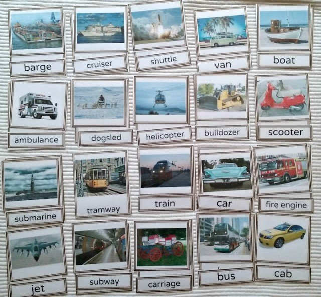 Types of transportation 3 part cards