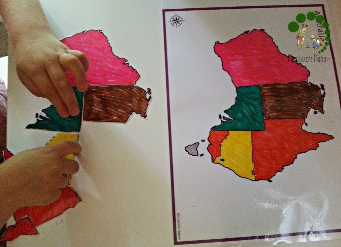 Australia map activity Montessori preschool Practical Ways To Organise Effective Montessori Work Cycle | Homeschooling Preschool | Learning Activities | Montessori At home