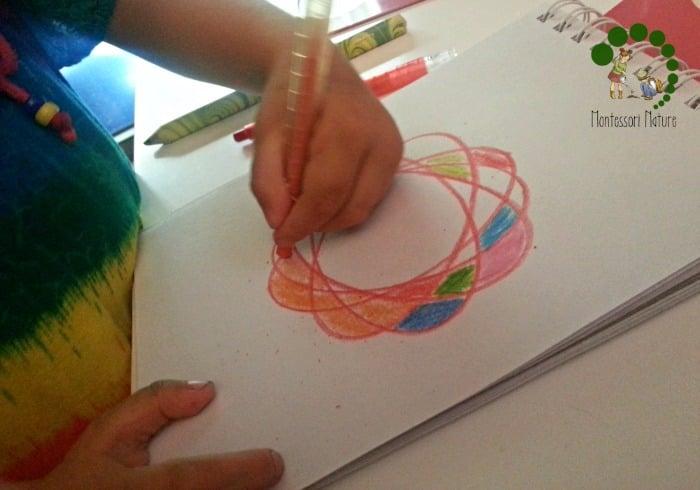 creating design with the metal insets montessori preschool