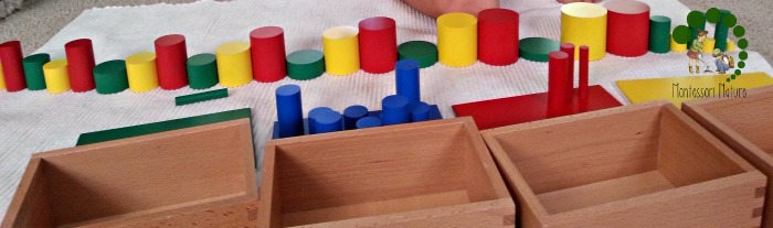 making patterns with the knobless cylinders montessori preschool
