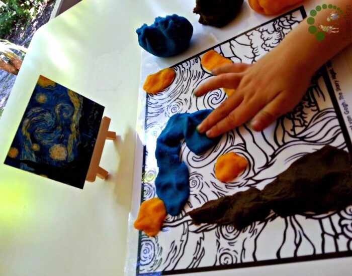 visual arts with montessori nature - playdough activity