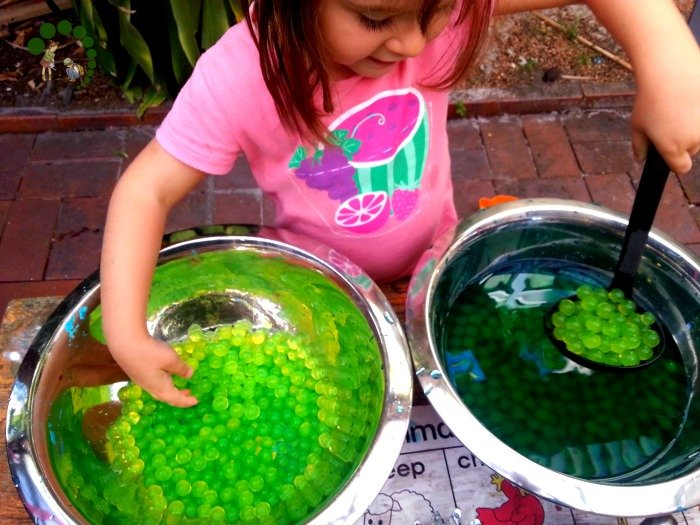 water beads montessori nature