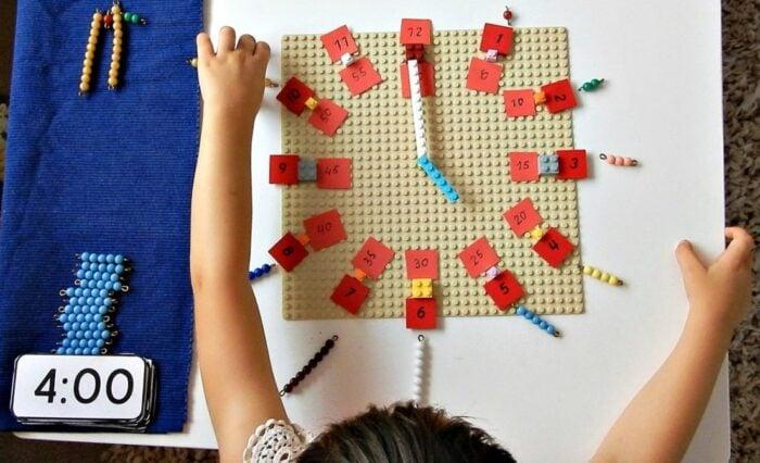 Telling time with Montessori Math Beads Montessori Nature Blog