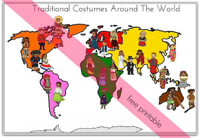 traditional costumes around the worlds match up printable activity