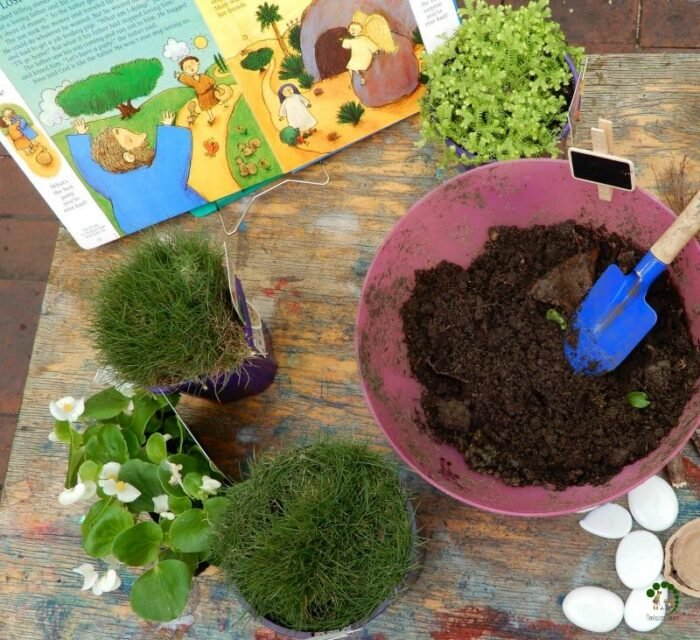 montessori nature Easter garden