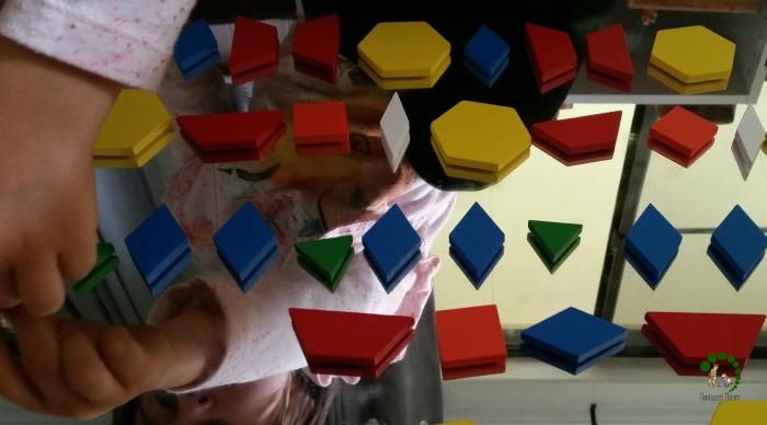 making patterns with shapes Montessori Nature