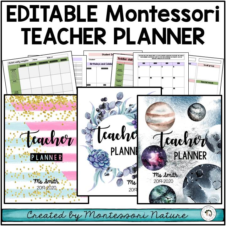 Teacher planner for Montessori classroom