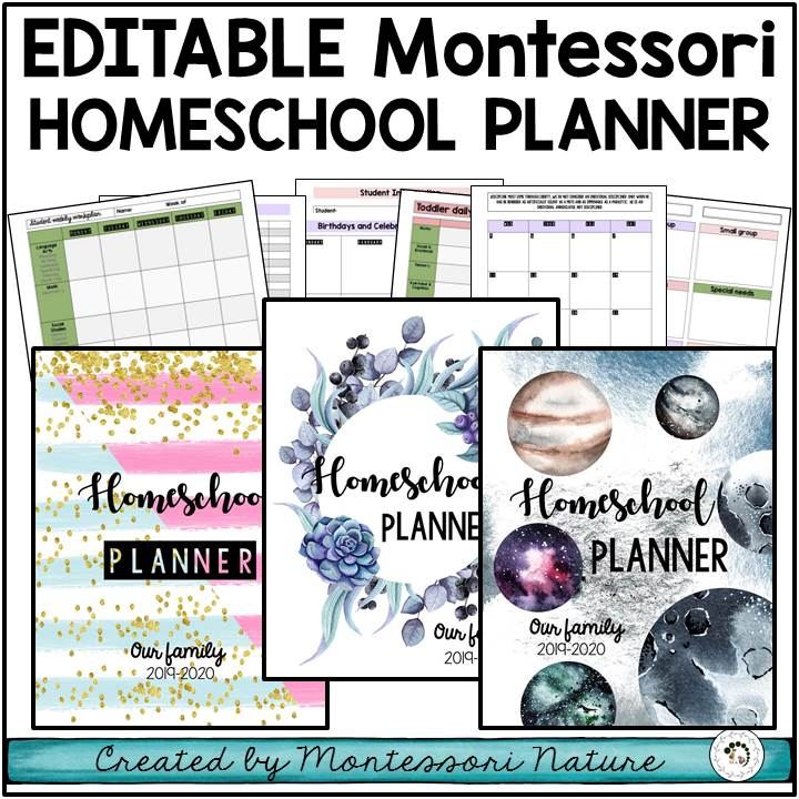 Buy editable Montessori homeschool planner