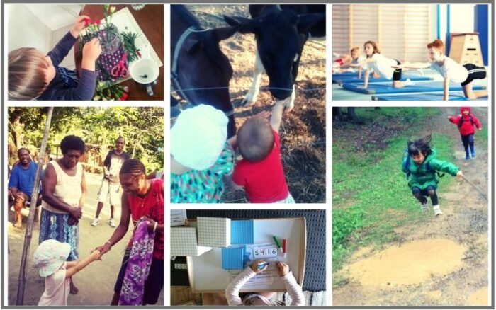 Days from homeschooling - outdoor play, international travel, exercise, plants, math activity