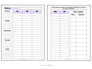 Weekly planner spread for teachers