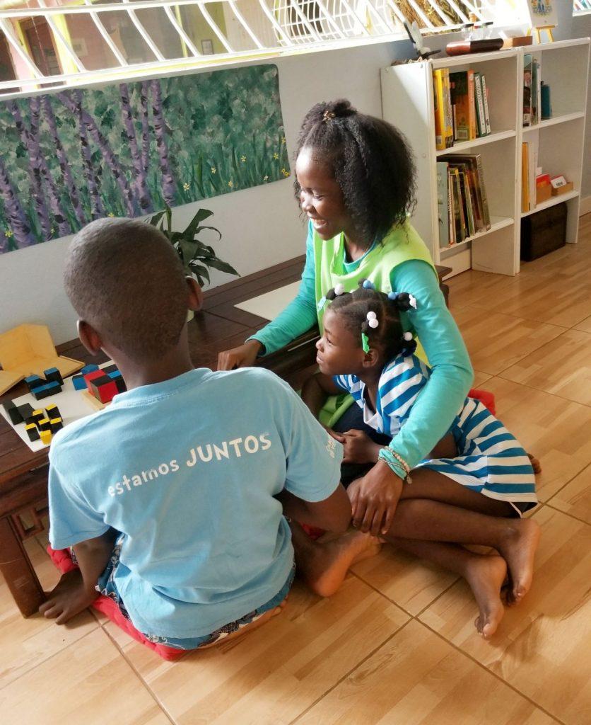 Children with Montessori activity