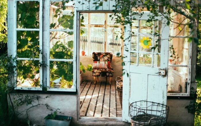 A verandah with an open door with plants growing inside and outside