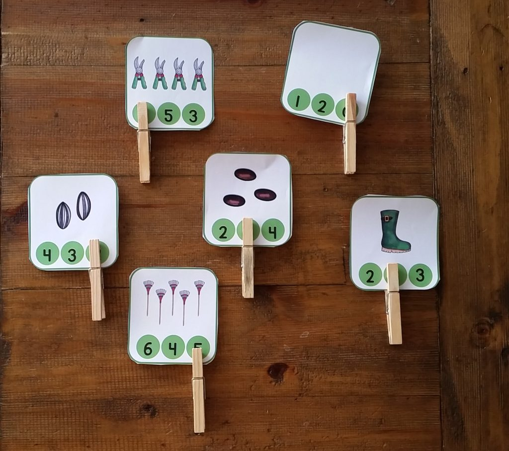 Gardening themed clip on number cards