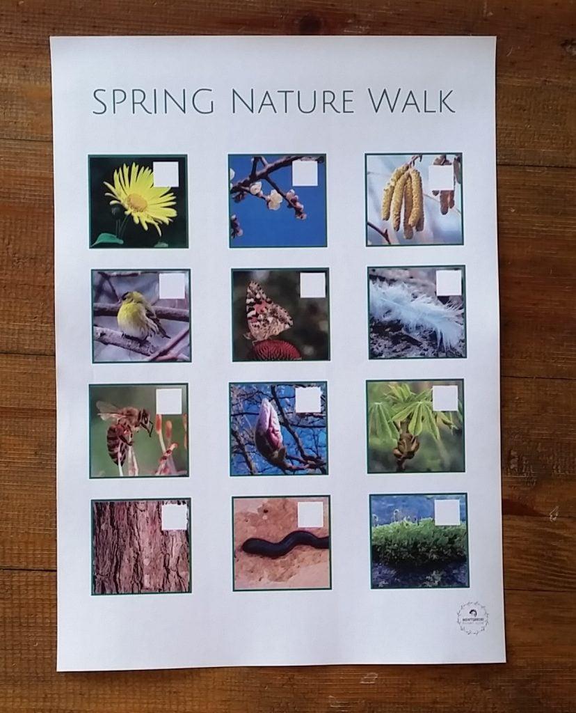 Nature walk scavenger hunt spring themed