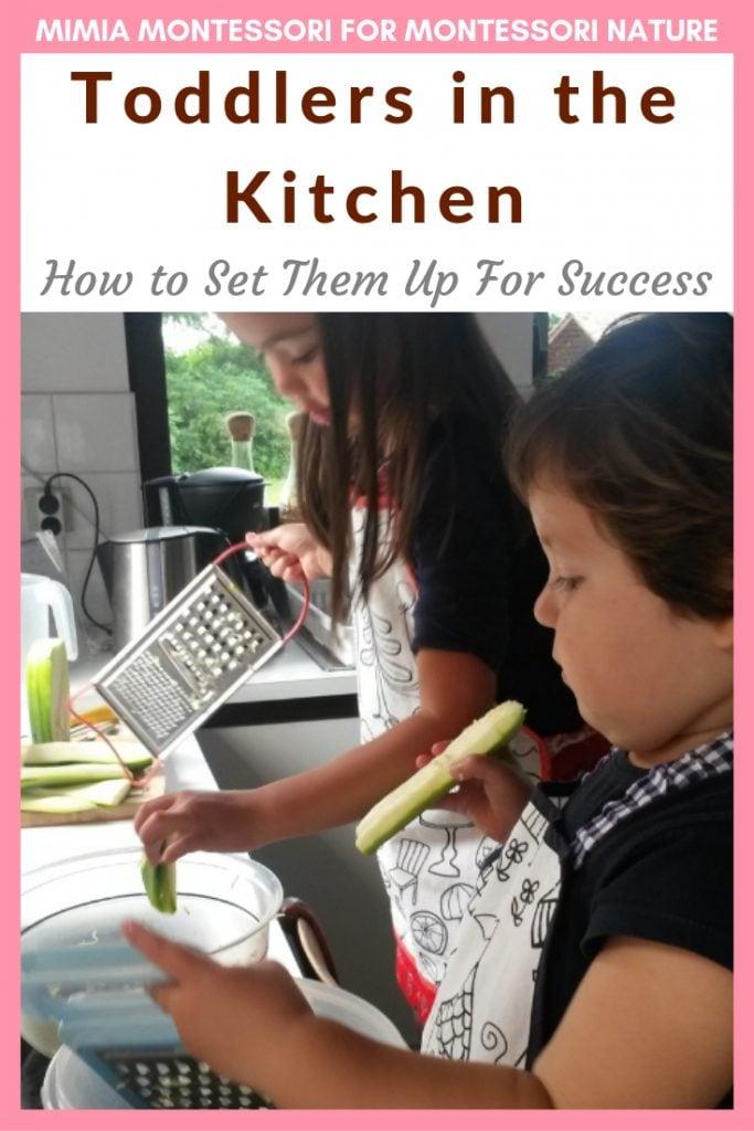 Pin Toddler in the Kitchen. Children washing kitchen tools in the kitchen.
