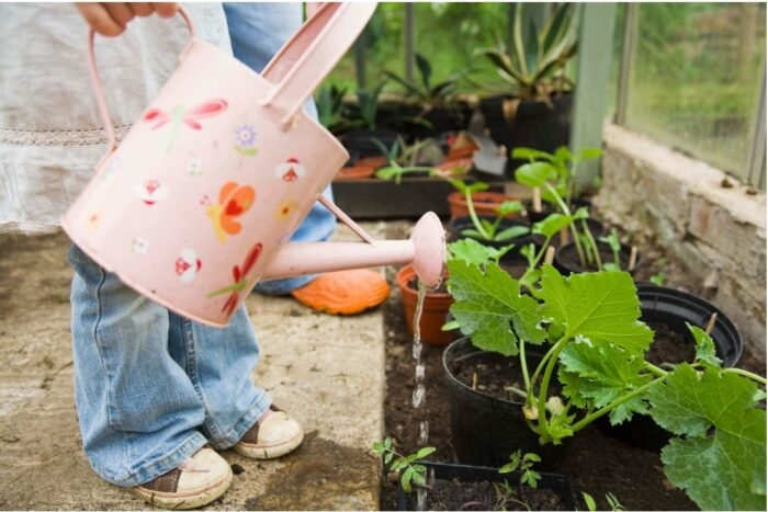 A child watering a  plant with a pink watering can