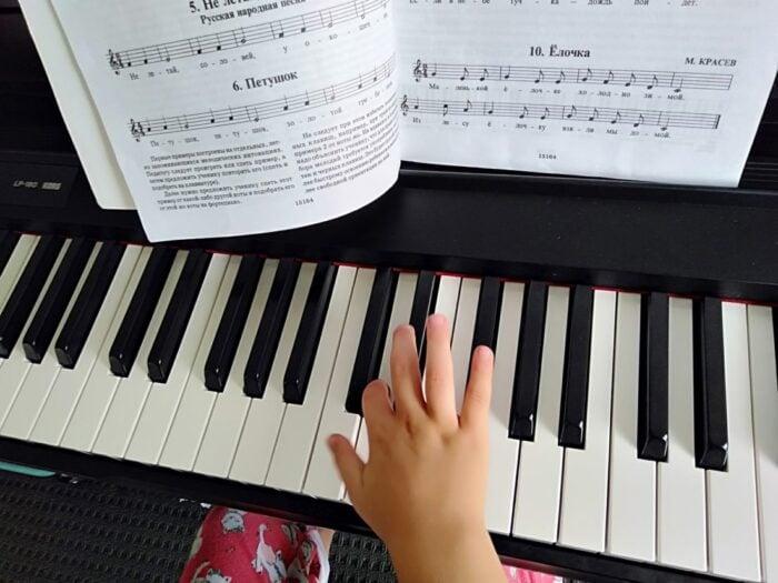 A child playing piano