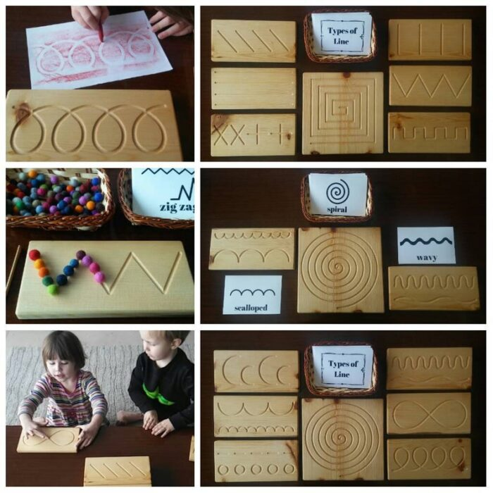 Different types of wooden puzzles for practicing handwriting and prewriting skills.