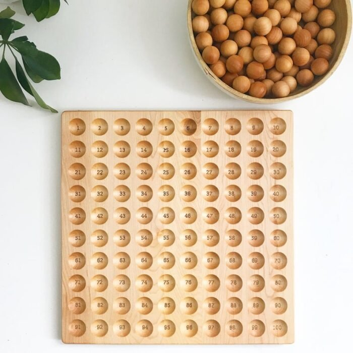 Wooden hunderd board with wooden balls