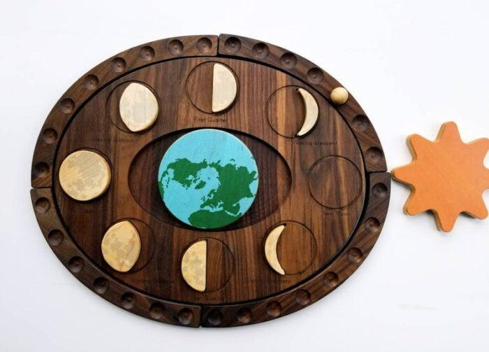 Wooden phases of the moon puzzle for children