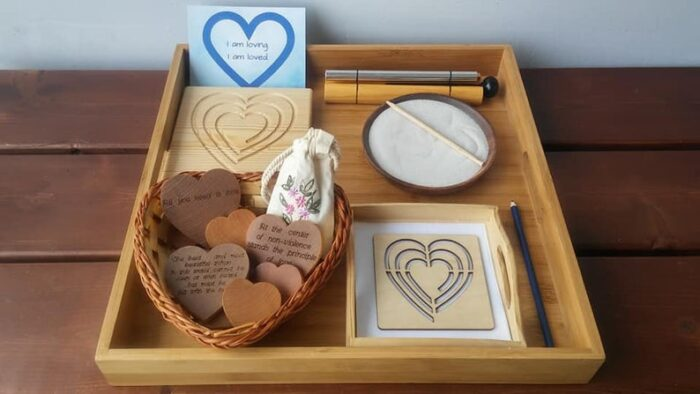 Love hear shapes wooden cards, a tray with a bowl for drawking on a sand, tracing and coloring