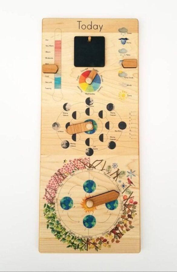 Wooden classroom calendar for children