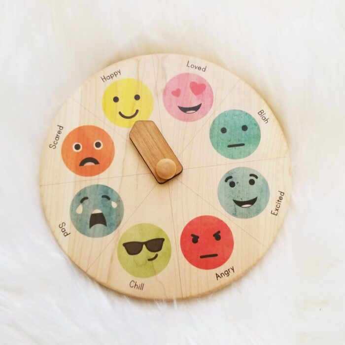 Wooden spinning wheel with different types of emotions.