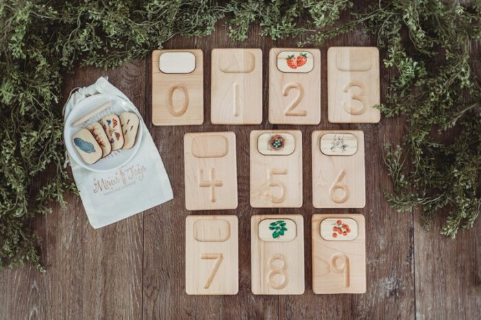 Wooden boards with picture boards for practicing counting 0-9