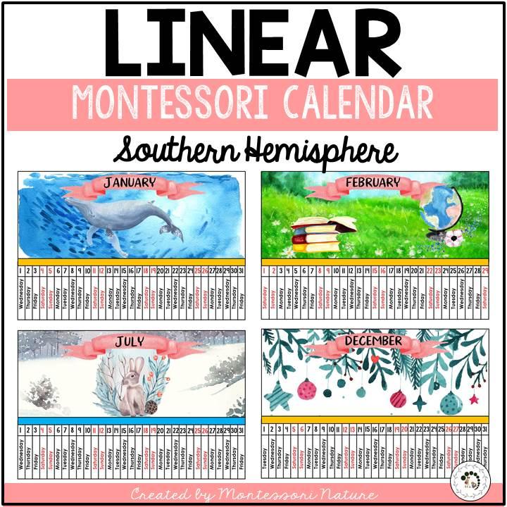 Buy linear calendar for southern hemisphere