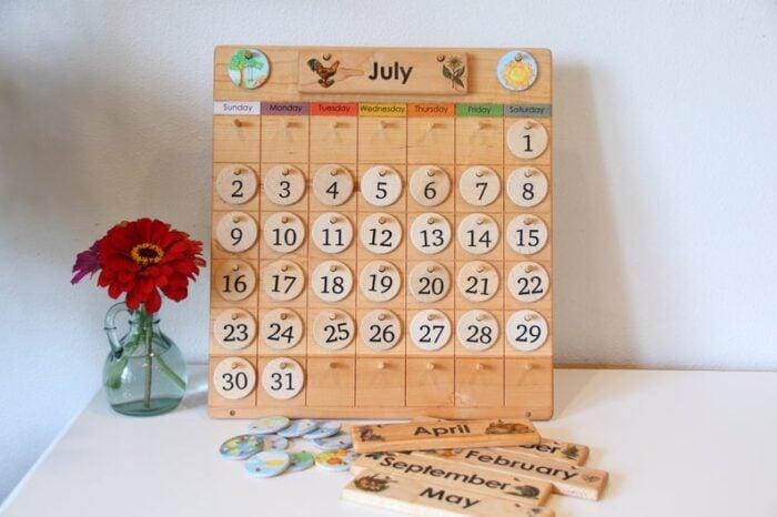 Wooden calendar for children