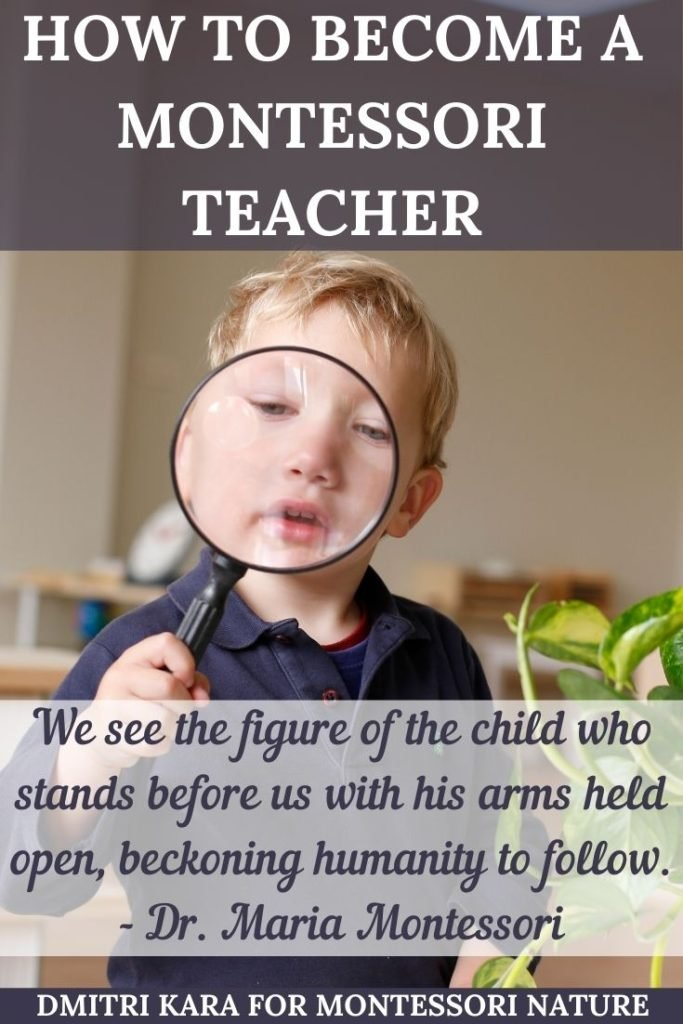 """Child holding a magnifying glass and quote by Maria Montessori: """"We discovered that education is not something which the teacher does, but that it is a natural process which develops spontaneously in the human being."""""""