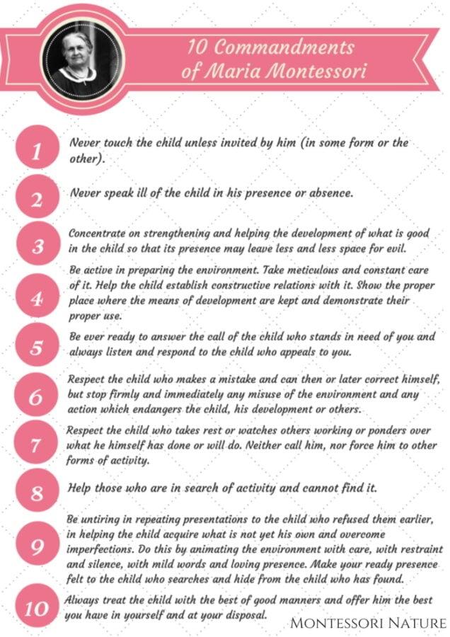 10 Commandments of Maria Montessori free printable