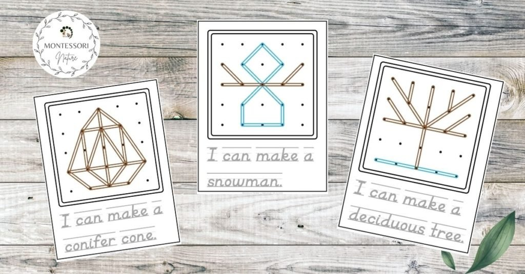 Three types of pages from the Geoboard cards printable