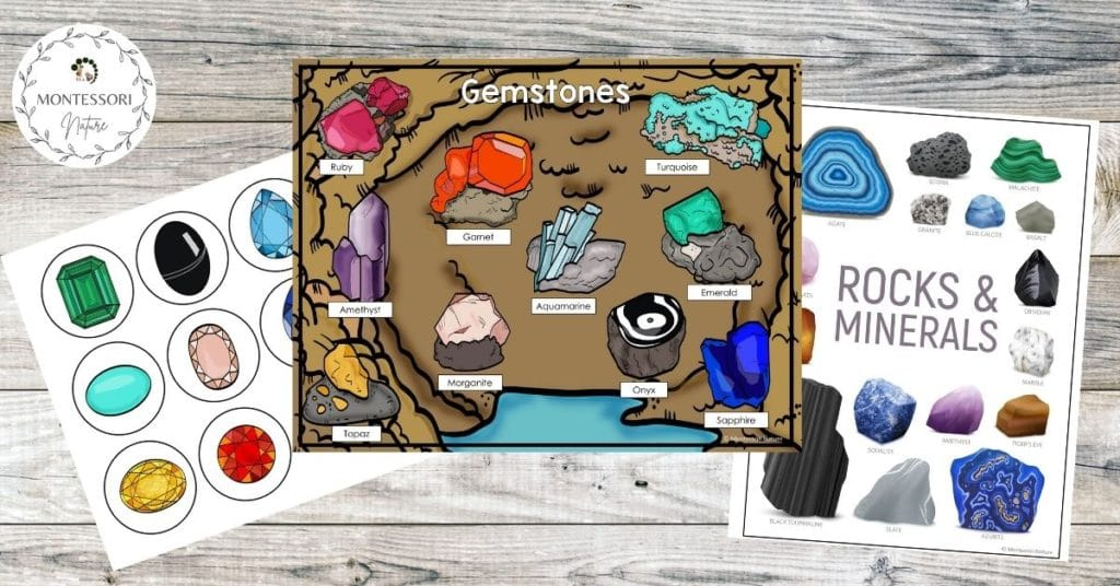 Gemstones posters and rocks and minerals poster for preschool children