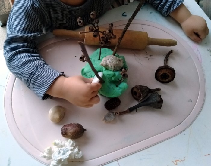 A child playing with natural objects and playdough