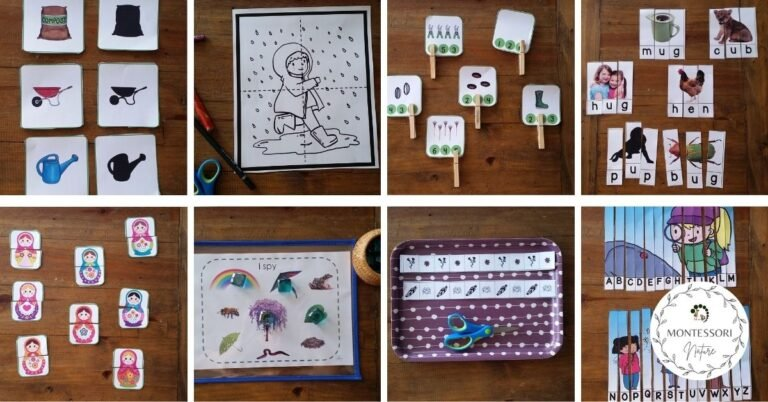 Spring printables for preschool children with cutting, clip on cards, coloring puzzles and I spy game