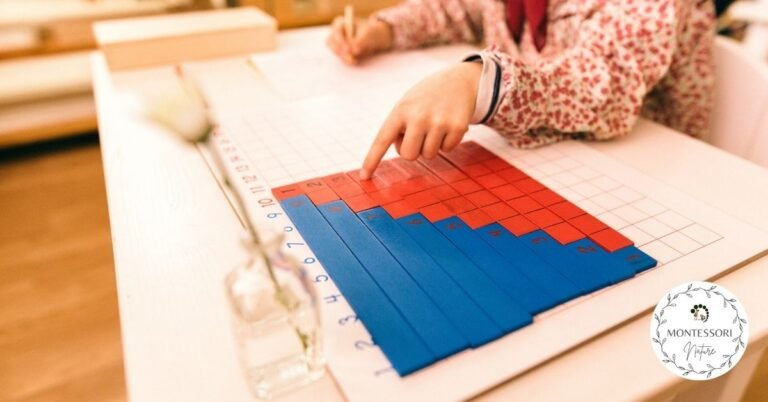 Child with Montessori math activity - addition strips