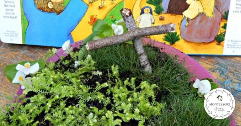 DIY Easter garden with a cross and planted grass