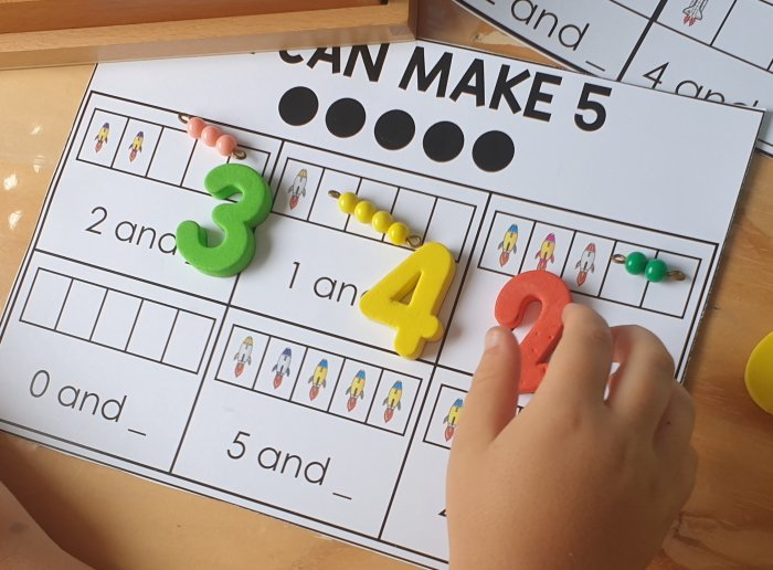 I can make 5 math activity with magnetic numbers and math beads