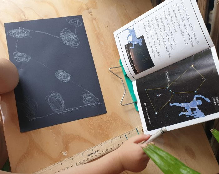 Book on space and child's drawing from observation
