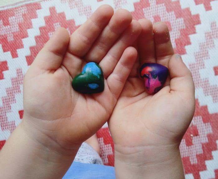 Crayon handmade love hearts